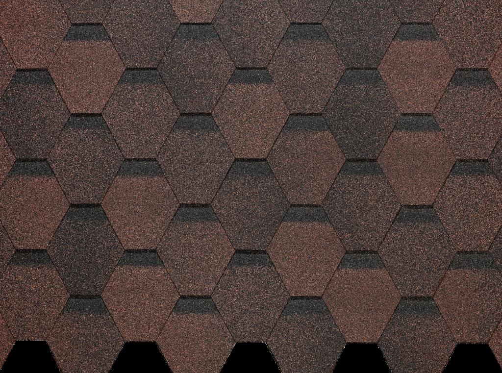 Гибкая черепица Деке / Docke Pie Basic, коллекция Шестигранник, цвет Коричневый, упаковка 3,0 м2