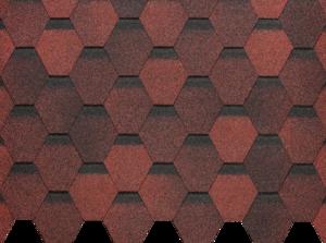 Гибкая черепица Деке / Docke Pie Basic, коллекция Шестигранник, цвет Красный, упаковка 3,0 м2