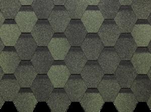 Гибкая черепица Деке / Docke Pie Basic, коллекция Шестигранник, цвет Зелёный, упаковка 3,0 м2